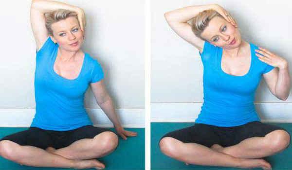 упражнения от второго подбородка-повороты в бок сидя